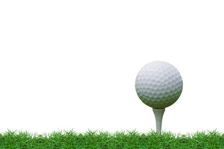 isolated golf ball on the tee