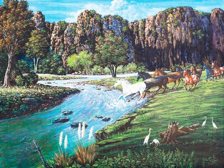 Oil painting on canvas - horses in the forestの写真素材