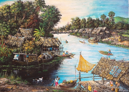 Oil painting on canvas - picture of waterside lifeの写真素材