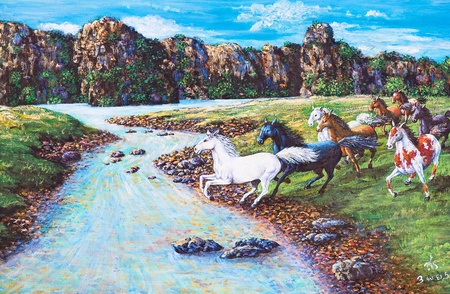 Oil painting on canvas - horses in the forest