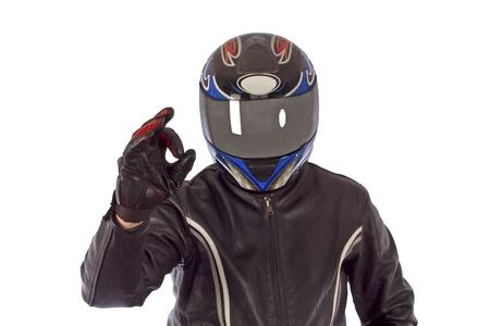 Biker with the helmet looking sharp