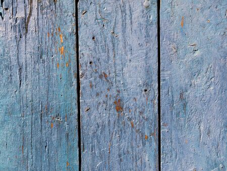 Old Vintage wooden background with the remains of the blue paint