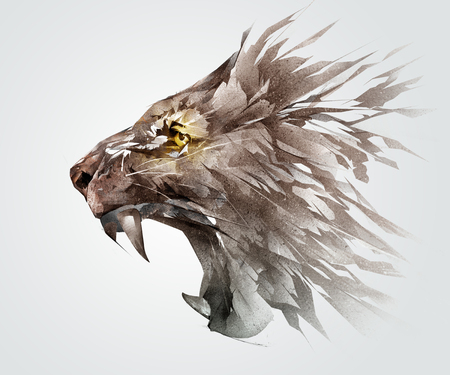 Photo pour Isolated colored sketch grinning muzzle of a lion the animal side - image libre de droit
