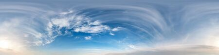 Photo pour blue sky with clouds with morning sun. Seamless hdri panorama 360 degrees angle view with zenith for use in 3d graphics or game development as sky dome or edit drone shot - image libre de droit