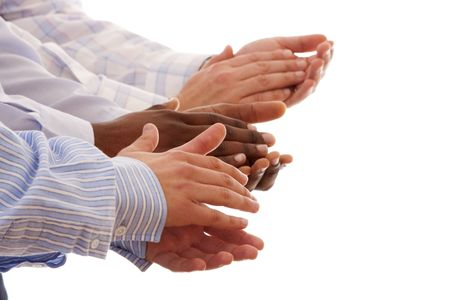 multiracial hands clapping together isolated on white (selective focus)