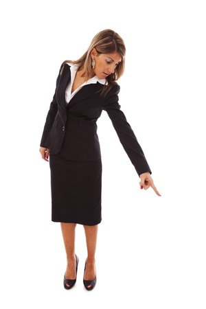businesswoman pointing down (isolated on white)