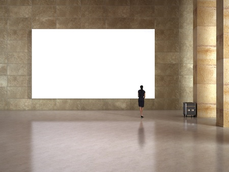 Photo pour Woman look at the blank frame in art gallery - image libre de droit