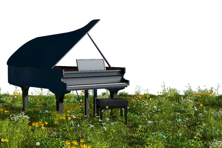 Foto per Piano in the garden. 3D rendering - Immagine Royalty Free