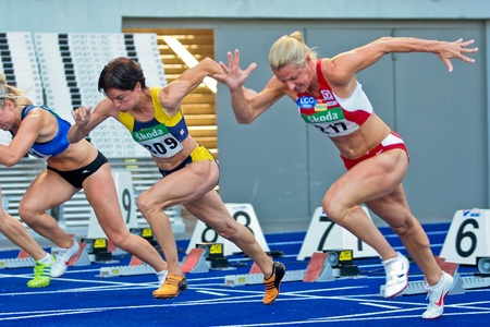 LINZ, AUSTRIA - AUGUST 1 Austrian track and field championship: Bianca DŸrr (#309) places first in the women's 100m semifinals on August 1, 2009 in Linz, Austria.