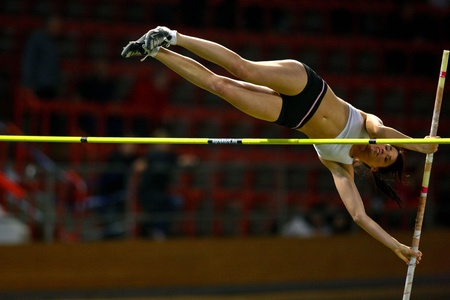 VIENNA,  AUSTRIA - FEBRUARY 16  Vienna indoor  track and field meeting.  Eros Eniko (Hungary) places 3rd in the women's pole vault  event on February 16, 2010 in Vienna, Austria.