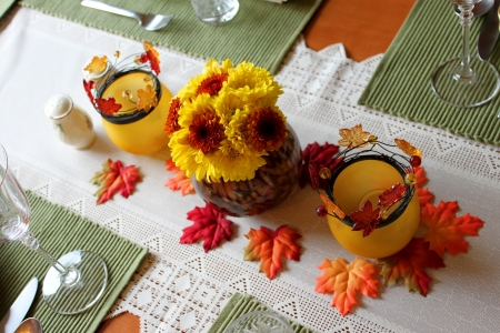 A orange yellow autumn centerpiece for Thanksgivingの写真素材