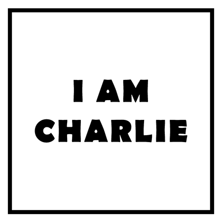 The text I Am Charlie on white background.