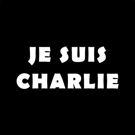 The text Je Suis Charlie on black background.