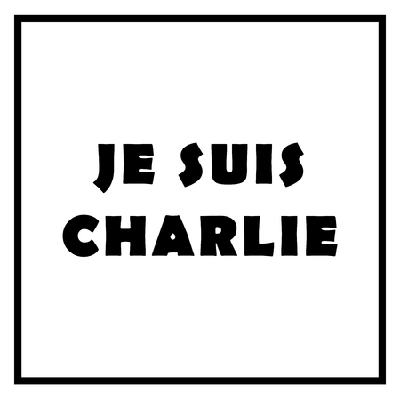 The text Je Suis Charlie on white background.