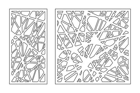 Illustration for Set pattern geometric ornament. Card for laser cutting. Element decorative design. Geometric pattern. Vector illustration. - Royalty Free Image