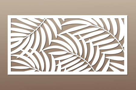 Illustration pour Decorative card for cutting in palm leaves pattern. - image libre de droit