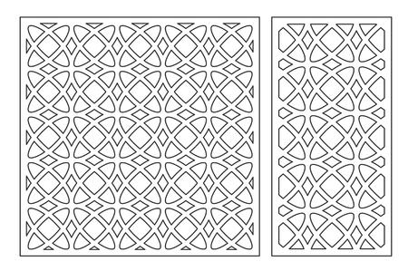 Ilustración de Set decorative card for cutting laser or plotter. Arabic Geometric pattern. Laser cut. Ratio 1:1, 1:2. Vector illustration. - Imagen libre de derechos