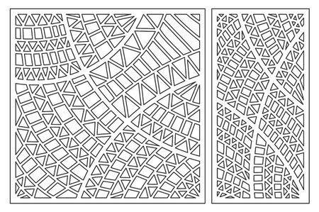 Ilustración de Set decorative card for cutting. Geometric ethnic pattern. Laser cut panel. Ratio 1:1, 1:2. - Imagen libre de derechos