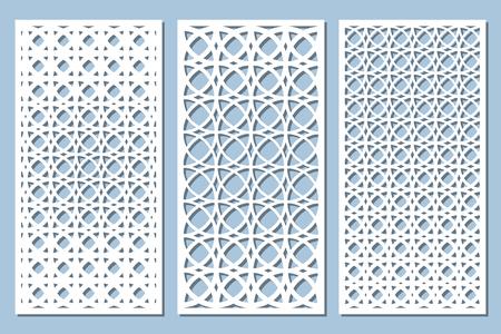 Illustration for Set decorative card for cutting. Arabesque pattern. Laser cut panel. Ratio 1:2. Vector illustration. - Royalty Free Image