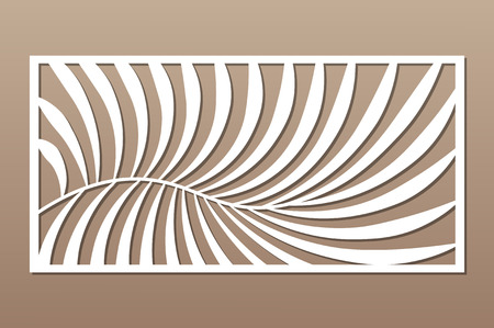 Illustration for Decorative card for cutting. Fern palm pattern. Laser cut panel. Ratio 1:2. Vector illustration. - Royalty Free Image