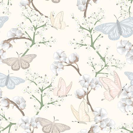 Illustration pour flowers and cotton flowers - image libre de droit
