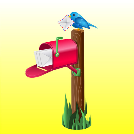 Outdoor red mailbox full of letters. Wooden pole, green grass and blue little bird holding an envelope.