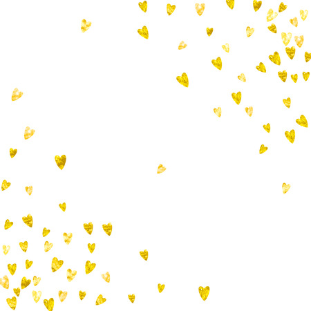 Ilustración de Valentine's day border with gold glitter hearts. February 14th day vector confetti for Valentine's day border template. Grunge hand drawn texture, love theme for gift coupons, vouchers, ads, events. - Imagen libre de derechos