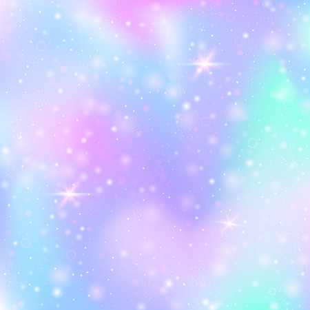 Illustration pour Unicorn background with rainbow mesh. Multicolor universe banner in princess colors. Fantasy gradient backdrop with hologram.  Holographic unicorn background with magic sparkles, stars and blurs. - image libre de droit