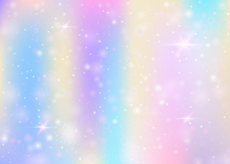 Photo pour Fairy background with rainbow mesh.  Trendy universe banner in princess colors. Fantasy gradient backdrop with hologram. Holographic fairy background with magic sparkles, stars and blurs. - image libre de droit