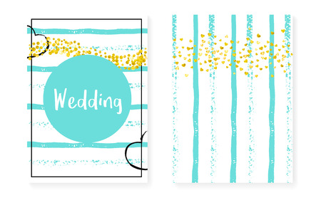 Illustration pour Wedding card invitation with dots and sequins. Bridal shower set with gold glitter confetti. Vertical mint stripes background. Retro wedding card for party, event, save the date flyer - image libre de droit
