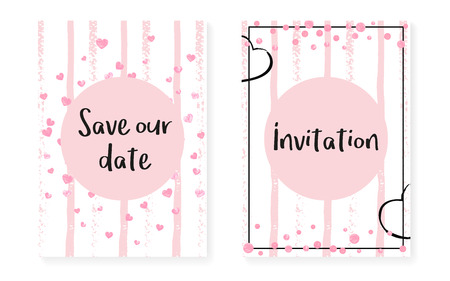 Illustration pour Wedding card invitation with dots and sequins. Bridal shower set with pink glitter confetti. Vertical stripes background. Retro wedding card for party, event, save the date flyer. - image libre de droit