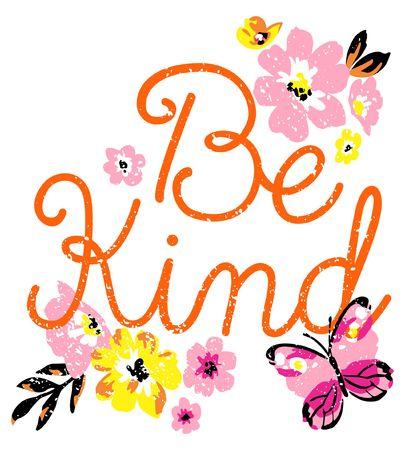 Vektor für Be kind butterfly with flower card design art - Lizenzfreies Bild