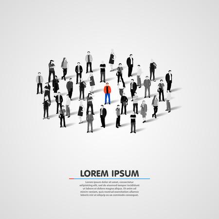 Illustration pour Unique person in the crowd. Vector illustration - image libre de droit