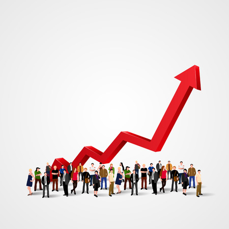 Illustration pour Growth chart and progress in people crowd. Vector illustration - image libre de droit