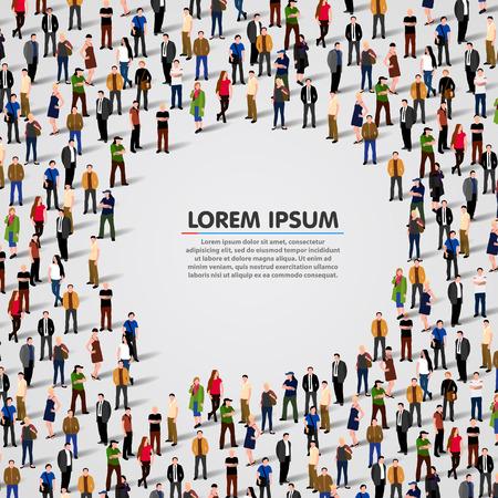 Illustration pour Large group of people in shape of chat bubble. Vector background - image libre de droit