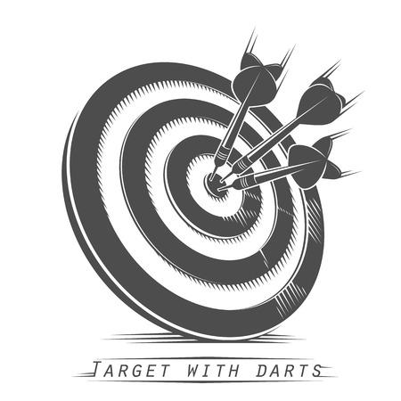Target with darts vintage tattoo. Vector illustration