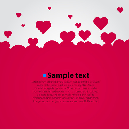 Many flying red hearts. Clear vector background.
