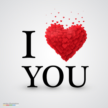 I love you, font type with heart sign.