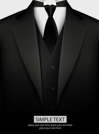 Elegant black tuxedo with tie. Vector illustration