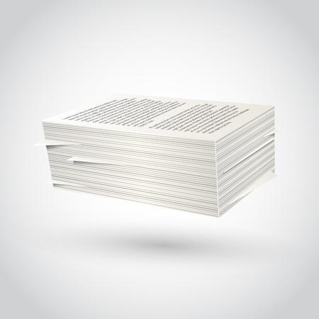 Ream of paper on white background. Vector illustration.