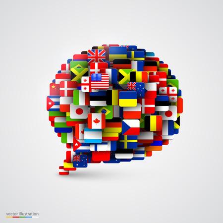 Illustration pour World flags in form of speech bubble. Vector illustration - image libre de droit