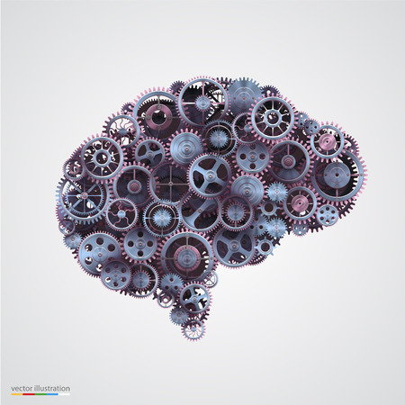 Cogs in the shape of a human brain. Vector illustration.
