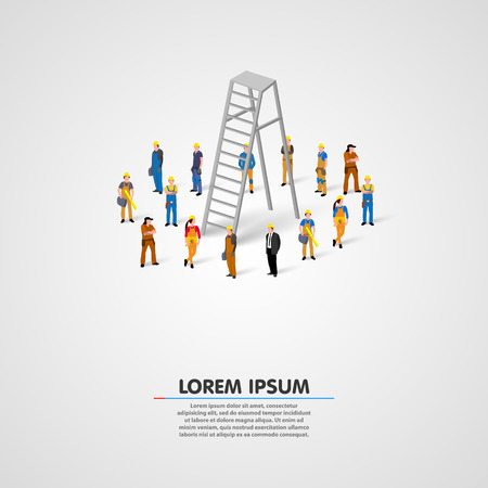 Worker group with ladder art. Vector illustration