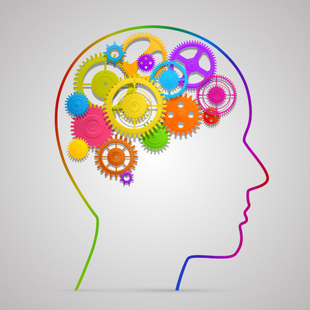 Illustration for Head with gears in brain art. Vector illustration - Royalty Free Image