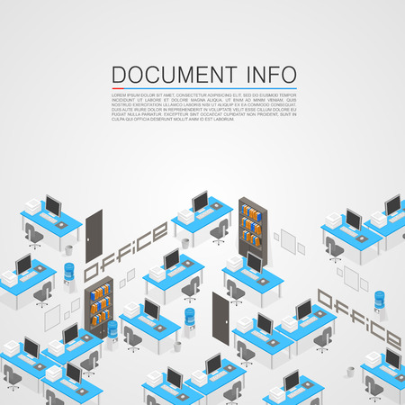 Office room it development art. Vector illustration