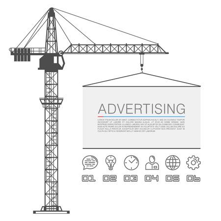 Ilustración de Crane lifts the billboard art. Vector illustration - Imagen libre de derechos