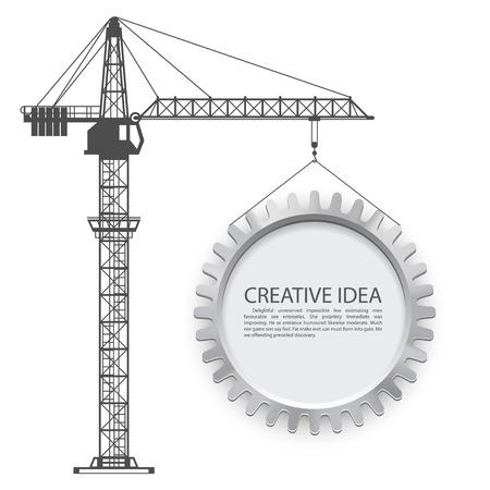 Ilustración de Crane lifts the gear art. Vector illustration - Imagen libre de derechos