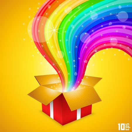 Open gift with rainbow art. Vector illustration