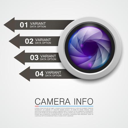 Camera info banner art creative. Vector illustration