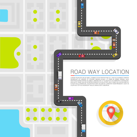 Illustration for Paved path on the road art. Vector background - Royalty Free Image